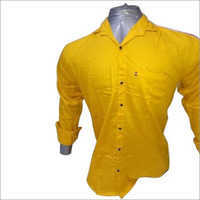 Mens Yellow Plain Shirt