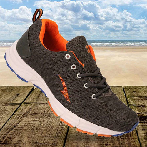 Grey Orange Sports Shoes