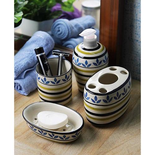 4 Pieces Multi Colors Ceramic Bathroom Set