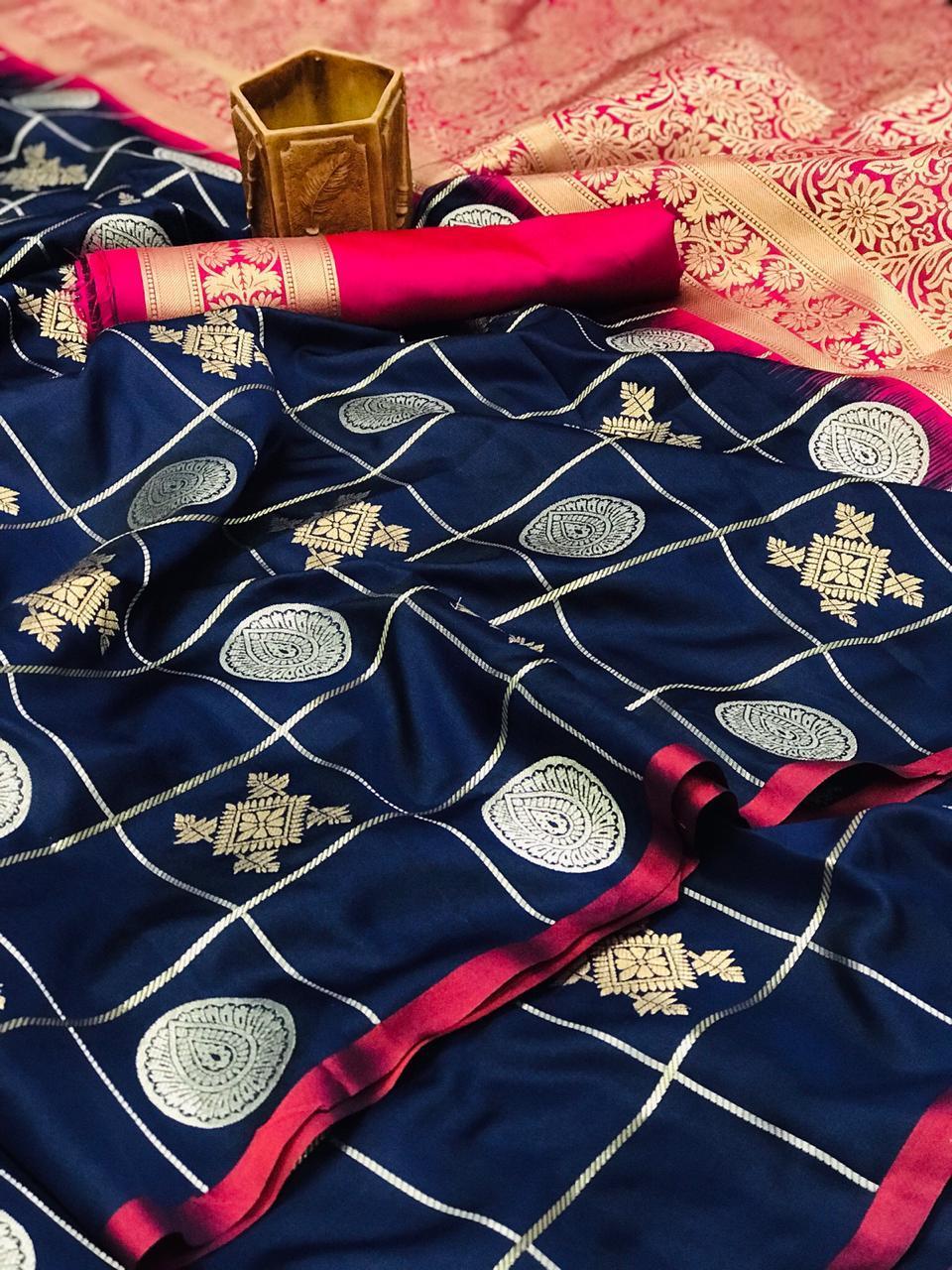 SOFT SILK silver GOLD ZARI WEAVING WORK saree