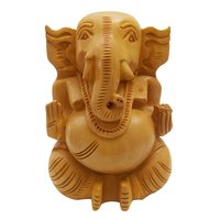 Pure Wooden Material Ganesh Round in fine Finishing ATR by Apnoghar 10cm