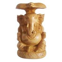 Apnoghar Wooden Ganesh Open Sitting Stetu Idol 6 Inch