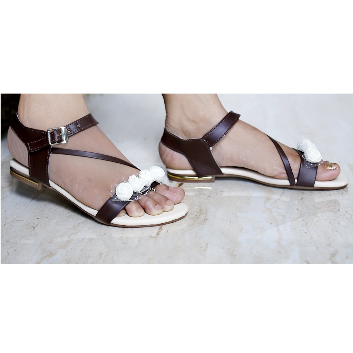 SYNTHETIC MATERIAL FLAT SANDALS WOMEN'S AND GIRLS