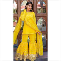 Ladies U Cut Sharara Suit