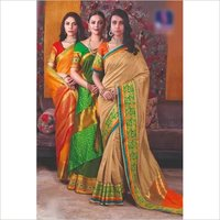 Designer Cotton Silk Saree And Blouse