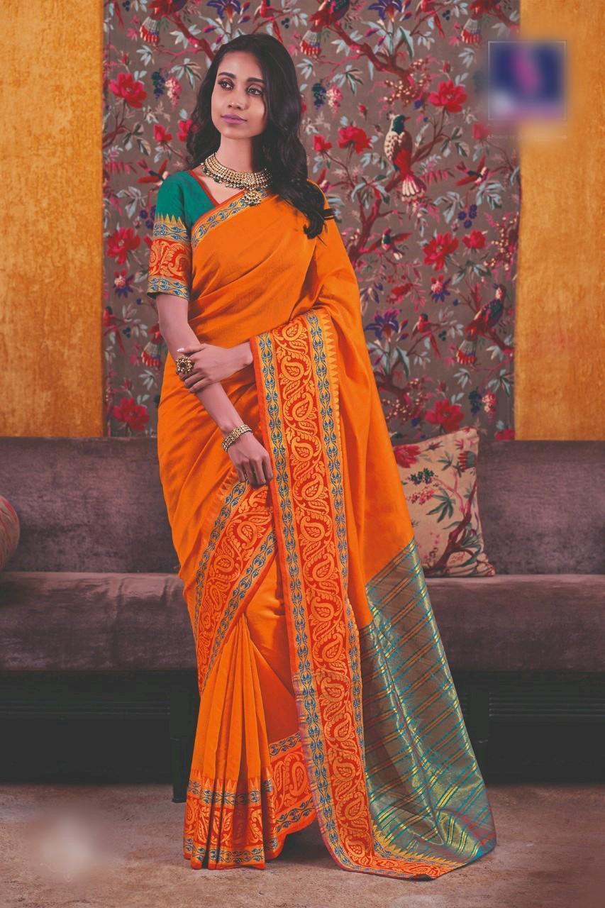 Designer Cotton Silk Saree And Blouse