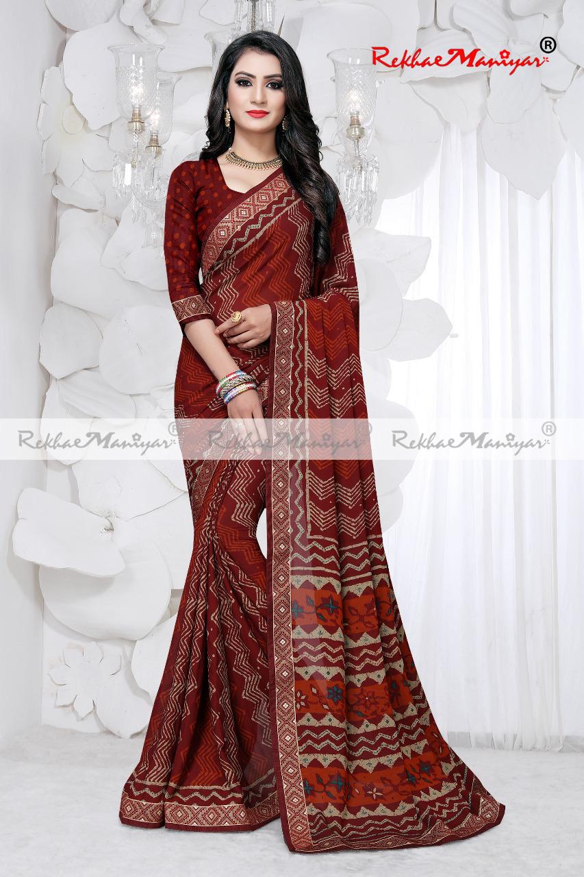 Art silk crepe printed saree