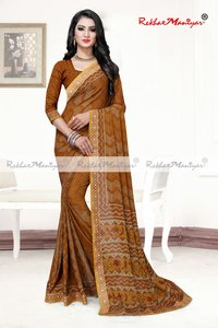 Art silk crepe printed saree