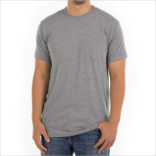 Grey Round Neck Cotton T-shirt