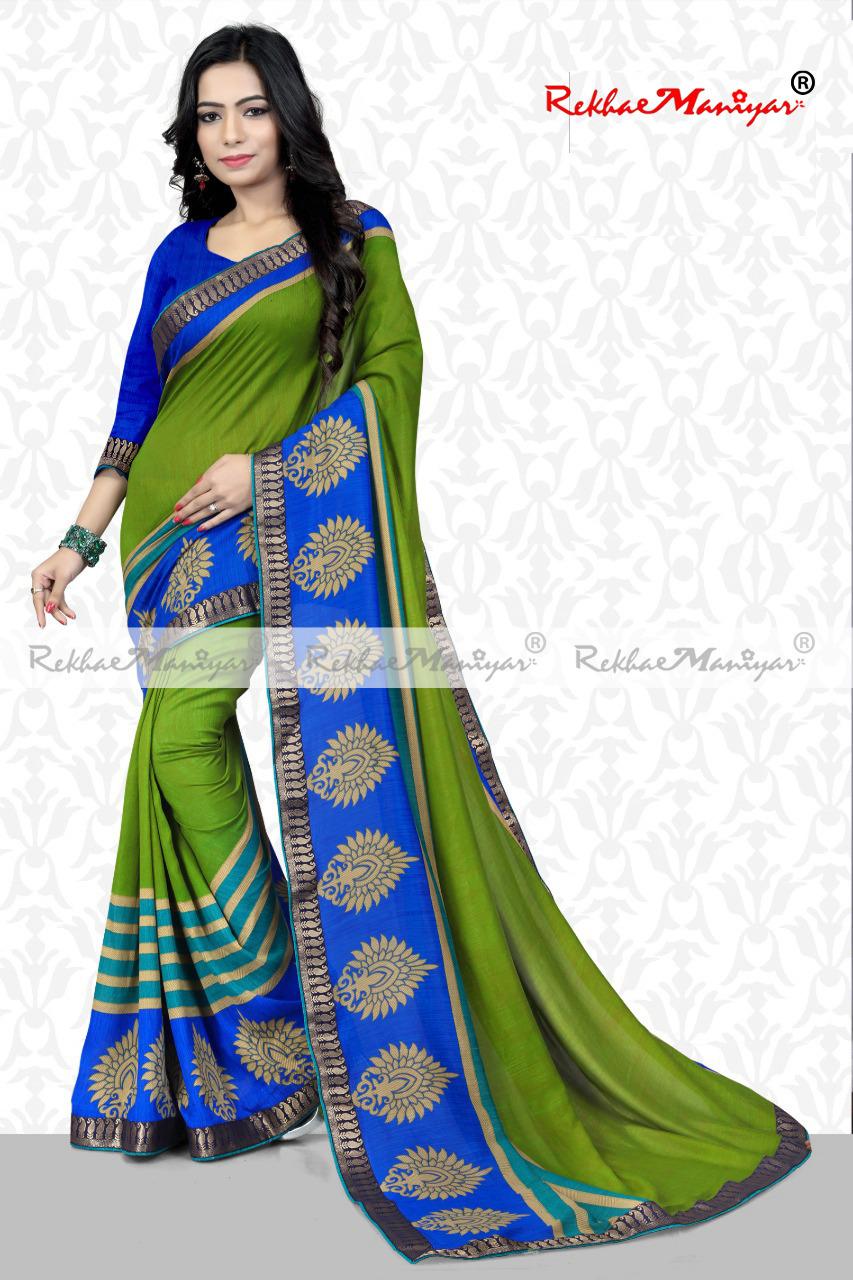 Art Silk Vichitra Print saree