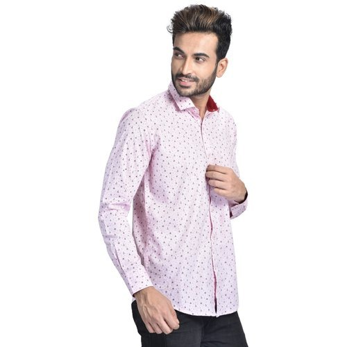 Mens Pink Printed Shirt