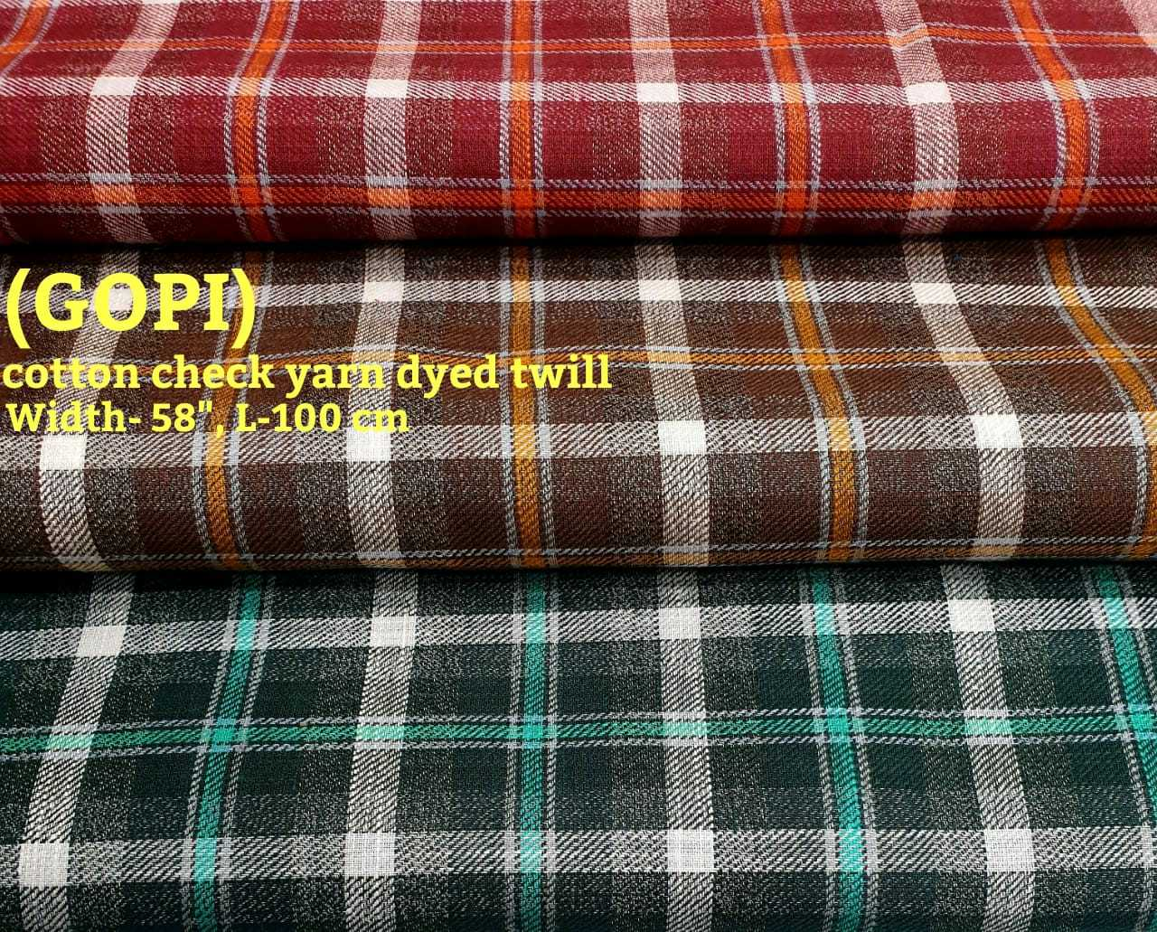 Gopi cotton check yarn dyed twill