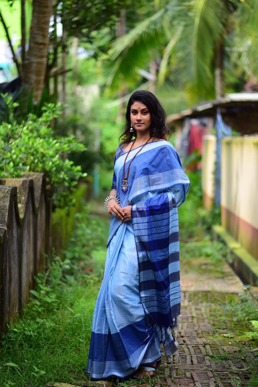 Linen cotton saree