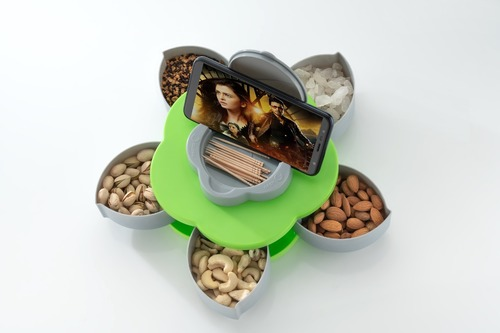 Flower Candy Box Serving Rotating Tray Dry Fruit, Candy, Chocolate, Snacks Storage Box with Mobile Phone Stand