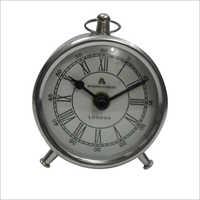 Roman Analog Silver Table Clock