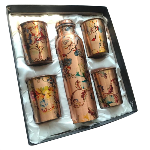Printed Copper Bottle With 4 Glass Set