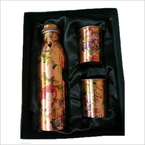 Printed Copper Bottle With 2 Glass Set