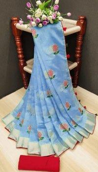 DC - FLOWER linen silk saree