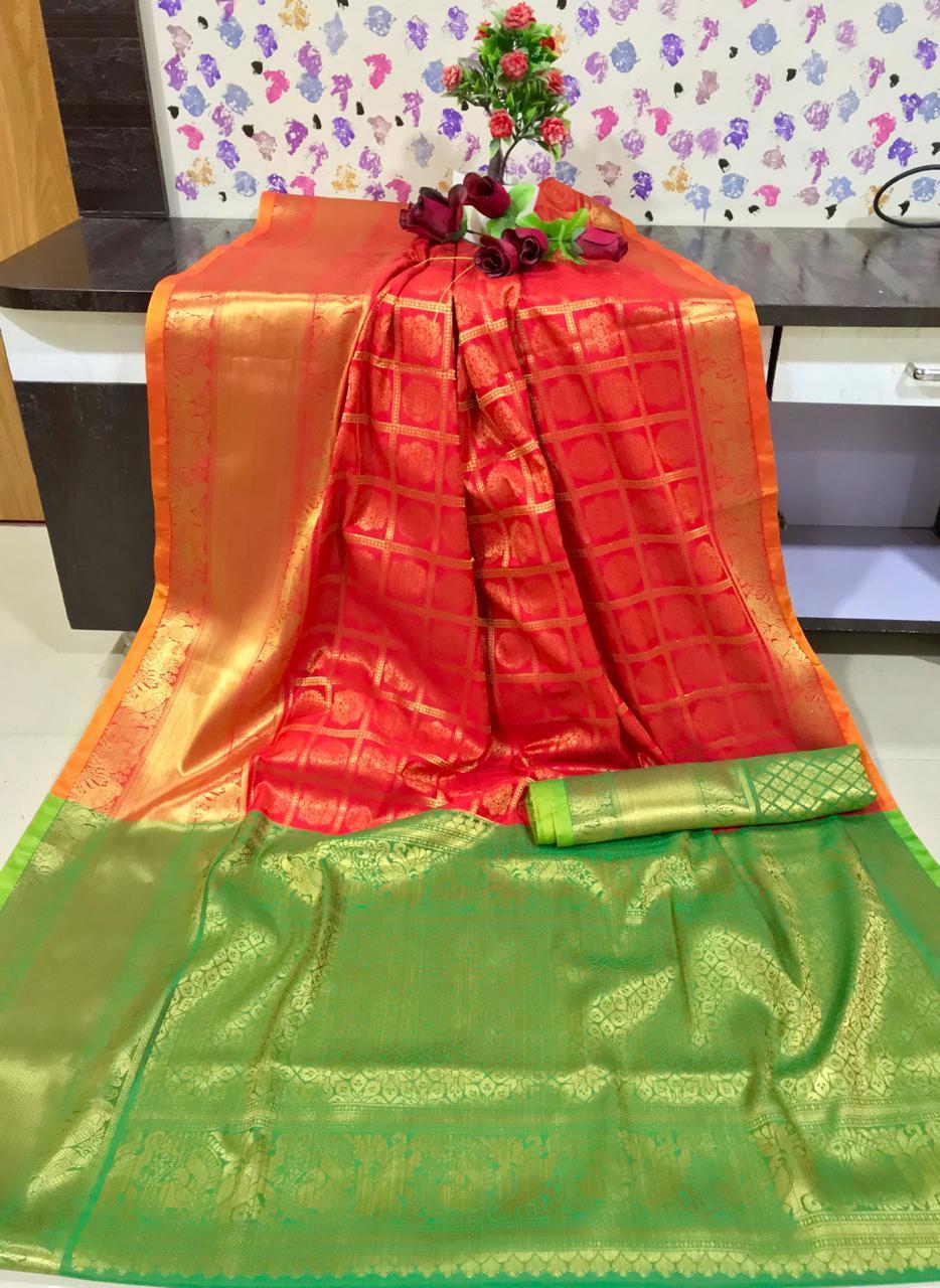 Designer Kanchipuram silk weaving saree