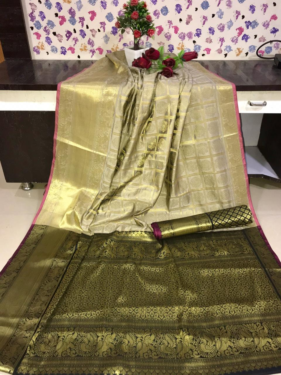 Designer Kanchipuram silk weaving saree