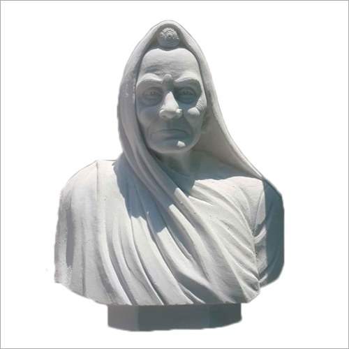 Indian Old Lady White Marble Statue