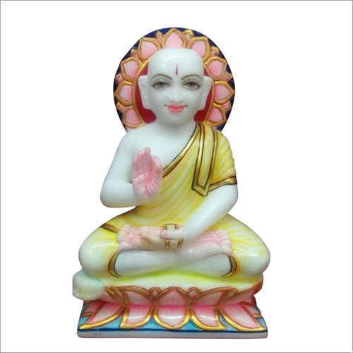 Polished Marble Gautam Swami Statue