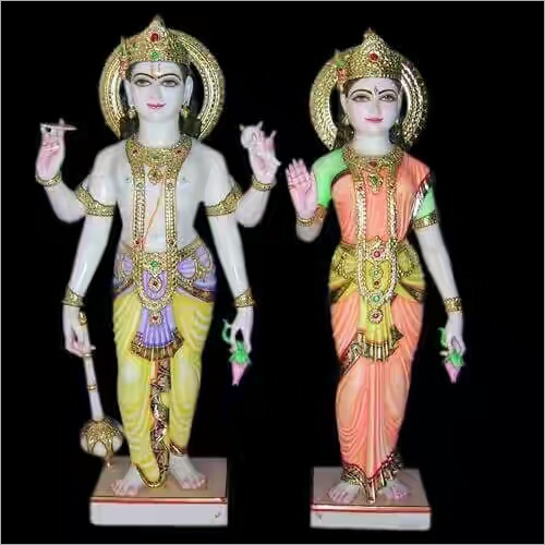 Polished Marble Lord Vishnu and Laxmi Statue