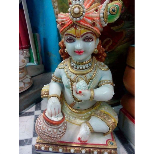 Polished Marble Laddu Gopal Statue