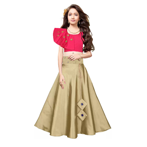 Kids Plain Lehenga Choli