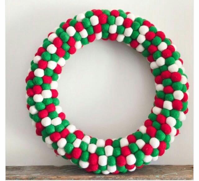 Felt Black and White Ball Wreath