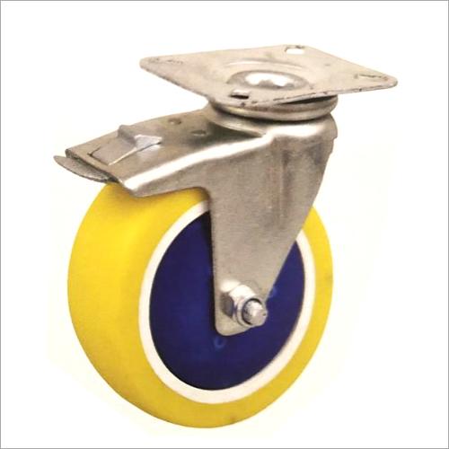 6 X 2 Inch Swivel Head Brake Zinc Plated Pressed Steel Castor Wheel