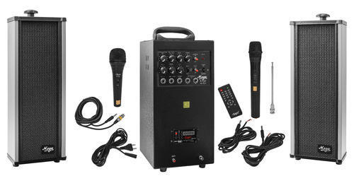 80 Watts Portable System with USB - ECHO - Cordless Mike and 2 External Speaker