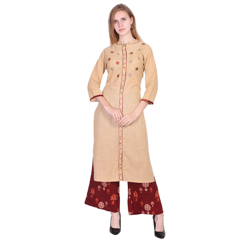 Beautiful Beige Cotton Slub Fabric with Embroidery Handwork Kurti with Wooden Button and Maroon Palazzo - Misskurti