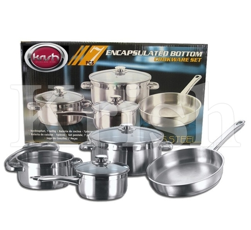 Encapsulated Cookware Set with steel Handle - 7/8/10/12 Pcs Set