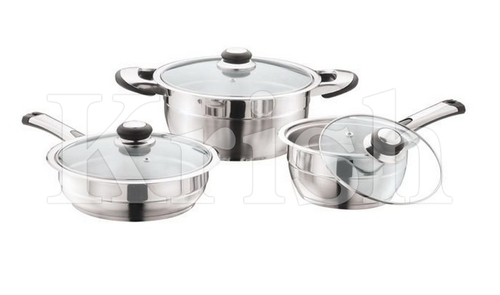 Professional Cookware Set with Glass Lid -6 Pcs