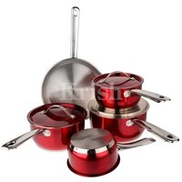 Encapsulated Cherry Cookware set with steel Handles 7/8/10/12 Pcs Set