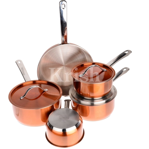 Encapsulated Orange Cookware set with steel Handles
