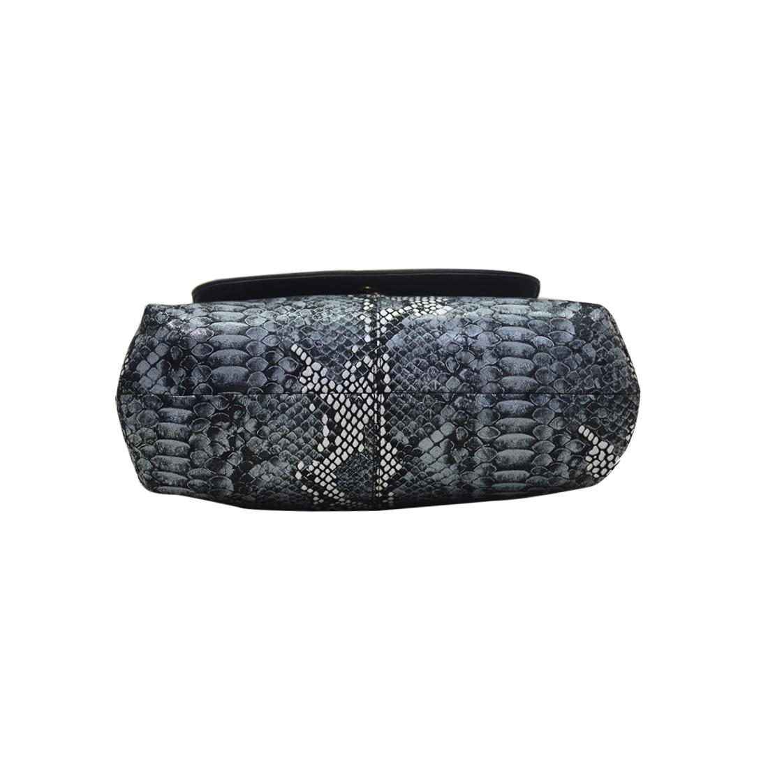 Leather Shoulder Bag Snake Printed
