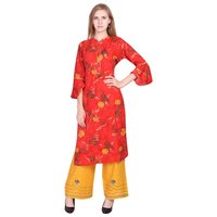 Delicate Red Rogan Rayon Print Kurti having Embroidery Button and Gota Lace with Flower Embroidery Palazzo - Misskurti