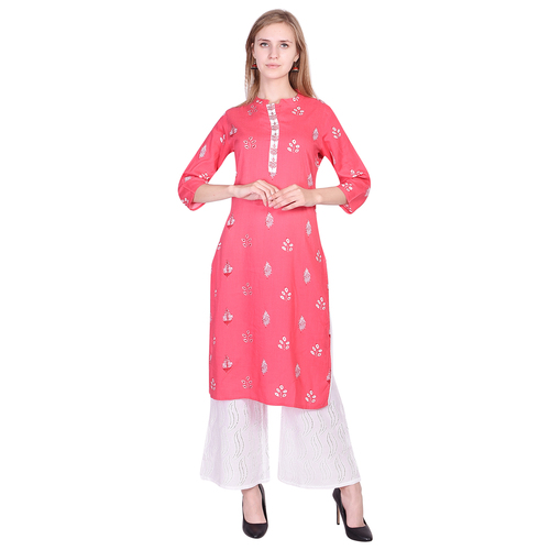 Beautiful Pink Base White Booty Rayon Print Kurti having Embroidery in Placket with Chicken palazzo - Misskurti