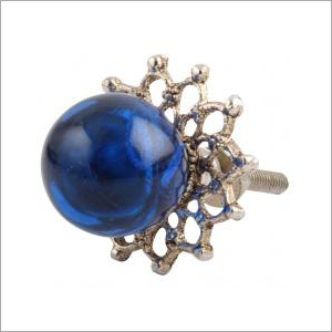 Metal with glass blue Globe Knob