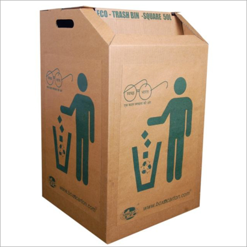 50 ltr Corrugated Trash Bin with Lid