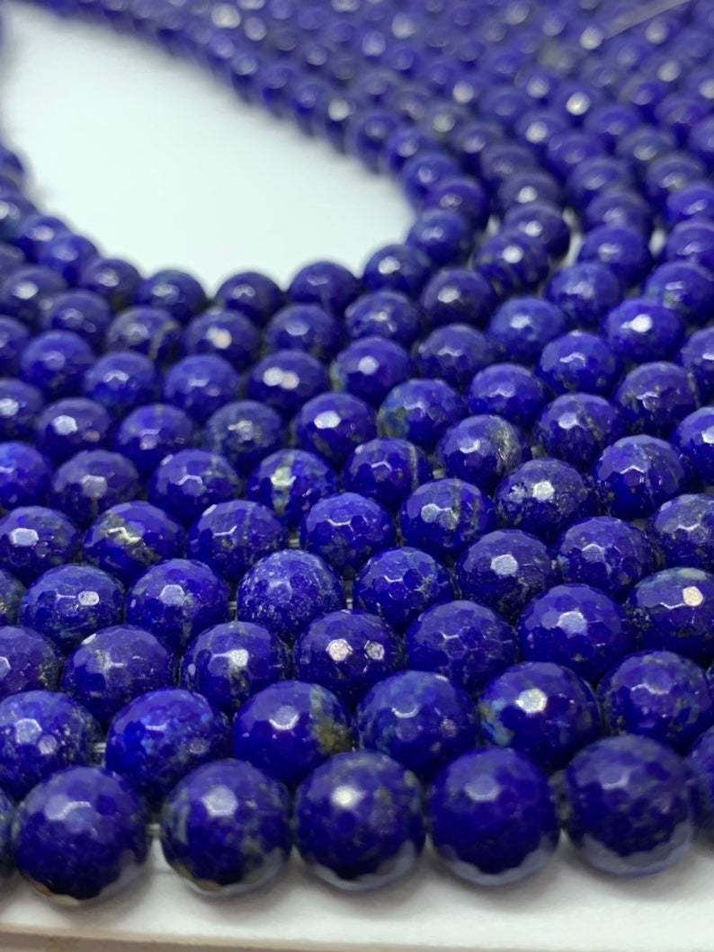 Top quality Natural lapis 7.5-8mm round faceted beads,lapis beads,AAA lapis beads