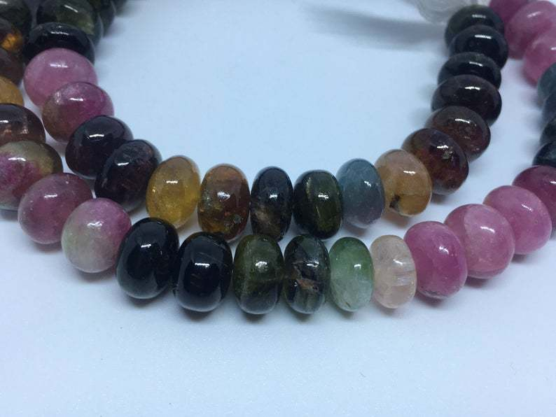 Rare size Tourmaline smooth rondelle beads 10-11mm , 15 inches long strand