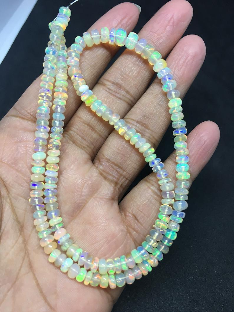 16 inches full fire ethiopian opal plain rondelle beads 4-5mm,ethiopian opal beads,opal beads