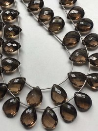 AAA Smokey pear briolettes 12/16mm,11 matched pieces smokey flat teardrop briolette beads