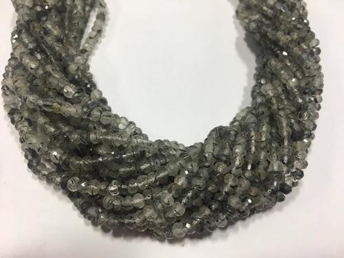 Black rutile micro faceted 4mm rondelle beads ,13 inch strand,pack of 4 strands