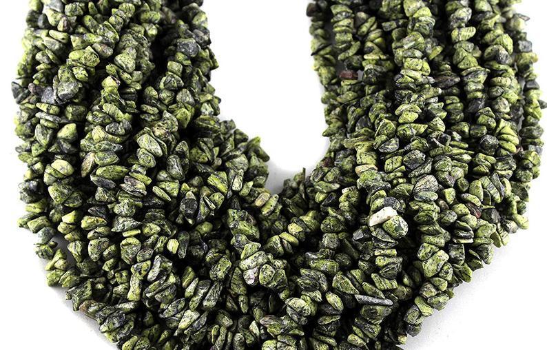 Pack Of 5 Strand Natural Zebra Jasper Uncut Chips Beads, Zebra Jasper Chips Beads, 36 Inches Strand,