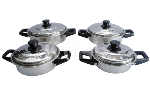 Deep Dome Dine Set With Bakelite Handle - 4 Pcs