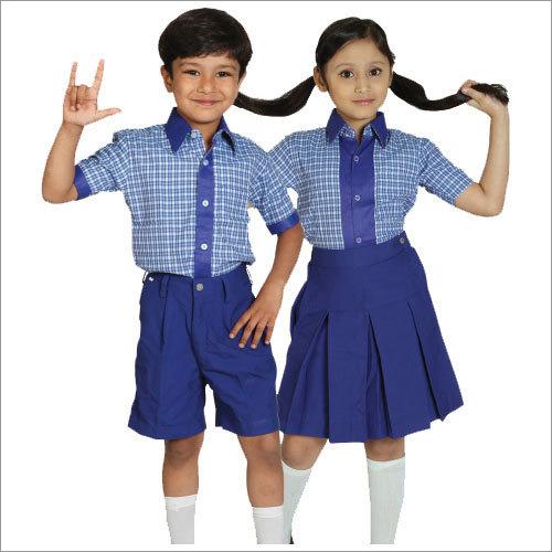 Blue Cotton Children School Uniform Set